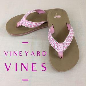 Vineyard Vines Classic Pink Whale Flip Flops.